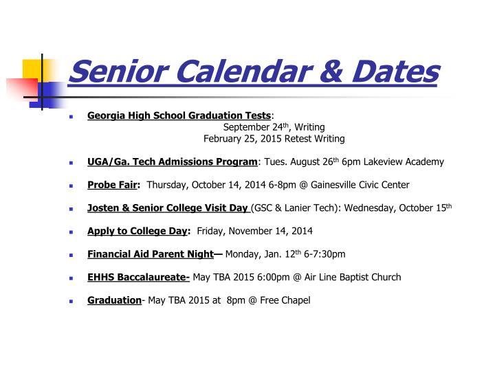 Senior Calendar & Dates