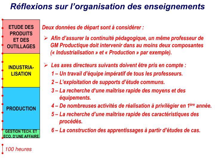 Réflexions sur l'organisation des enseignements