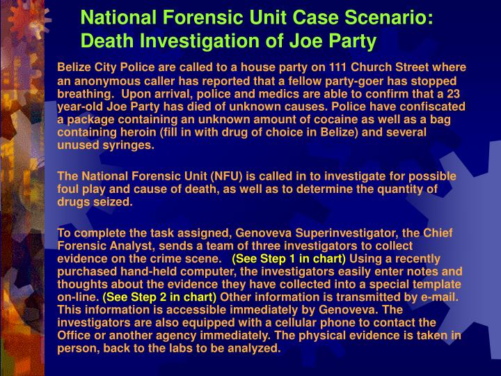 National Forensic Unit Case Scenario: