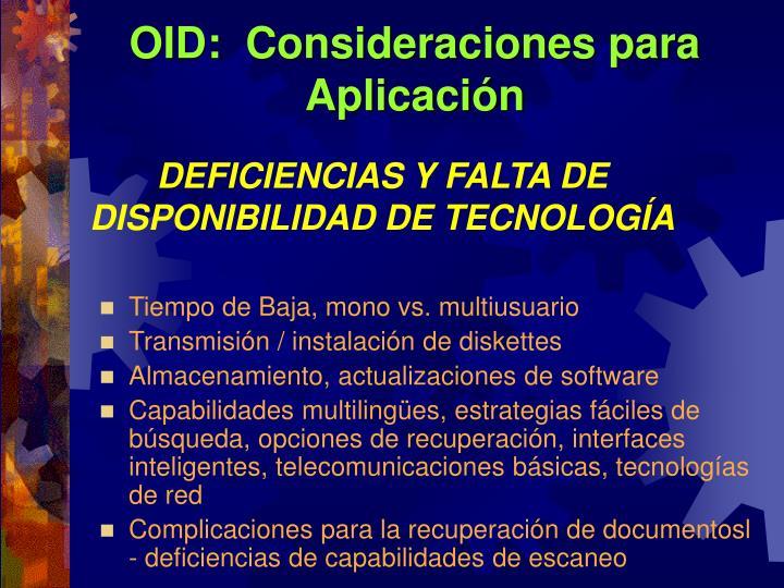 OID:  Consideraciones para Aplicación