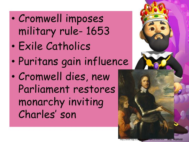 Cromwell imposes military rule- 1653