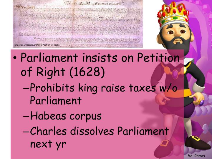 Parliament insists on Petition of Right (1628)