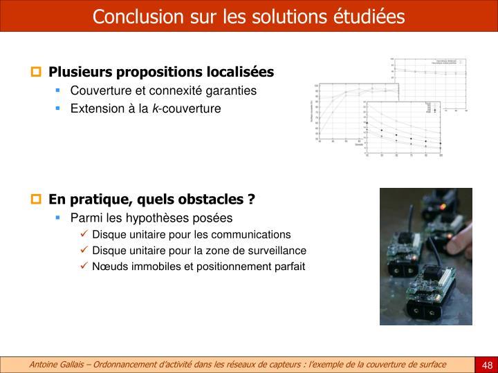 Conclusion sur les solutions étudiées