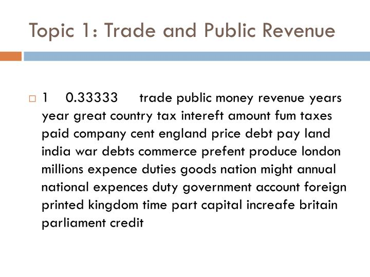 Topic 1: Trade and Public Revenue