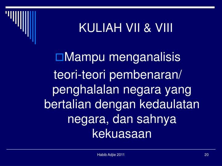 KULIAH VII & VIII