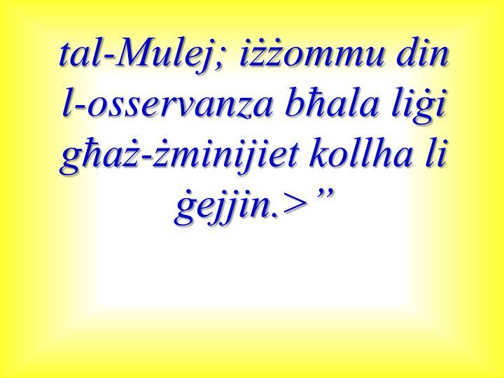 tal-Mulej; iżżommu din