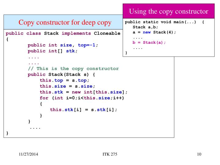 Using the copy constructor