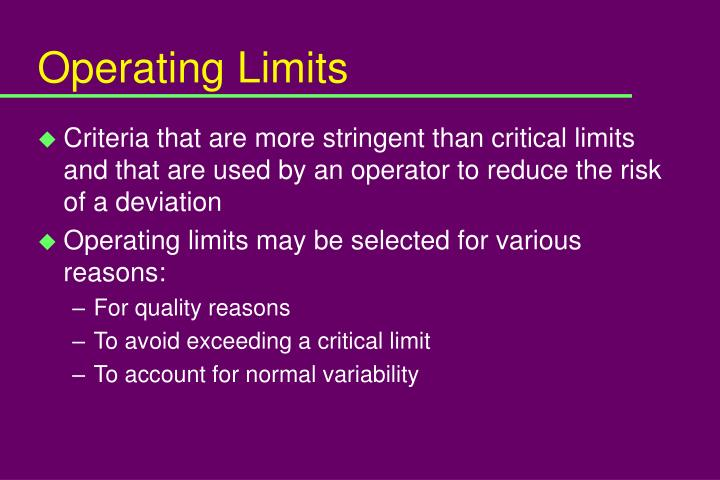 Operating Limits