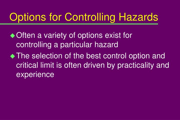 Options for Controlling Hazards
