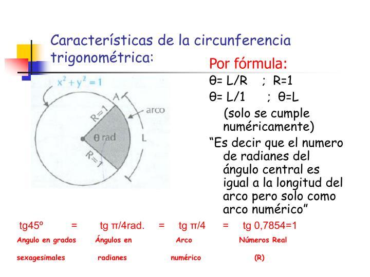 Características de la circunferencia trigonométrica: