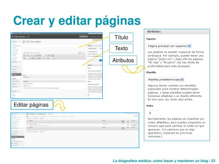 Crear y editar páginas
