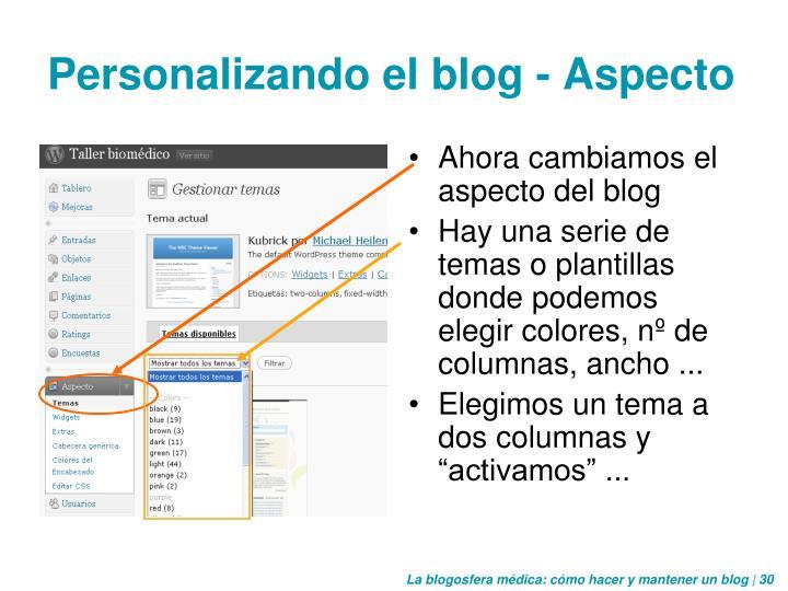 Personalizando el blog - Aspecto