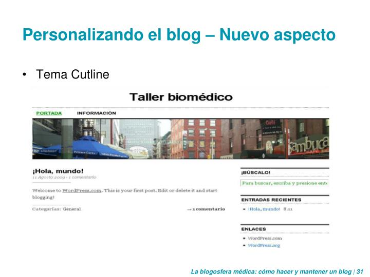 Personalizando el blog – Nuevo aspecto