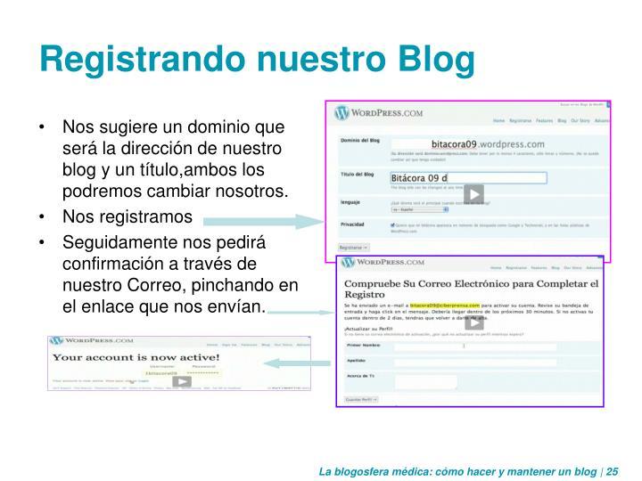 Registrando nuestro Blog