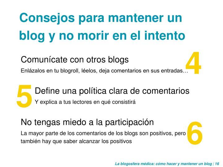 Comunícate con otros blogs