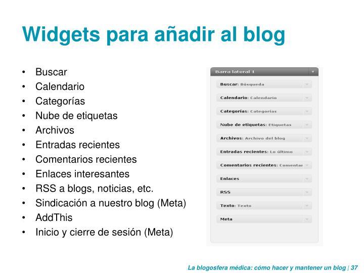Widgets para añadir al blog
