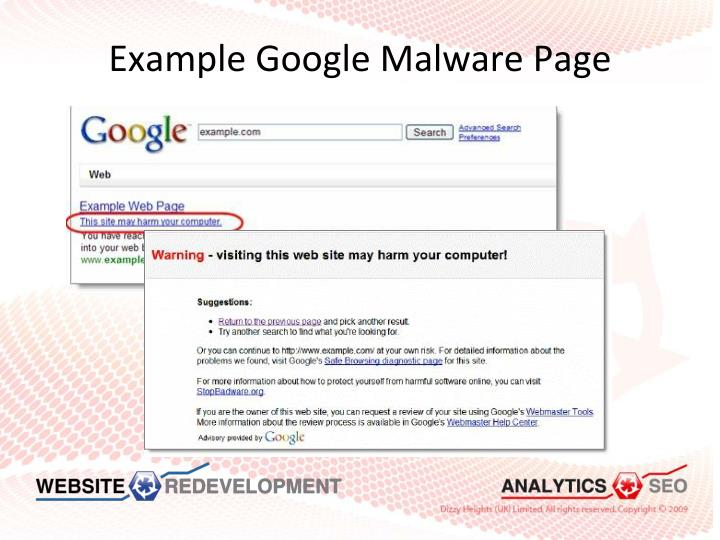 Example Google Malware Page