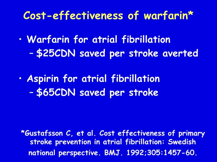 Cost-effectiveness of warfarin*