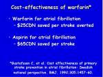 cost effectiveness of warfarin