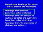 generalizable knowledge for better clinical practice and healthcare