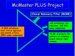 mcmaster plus project