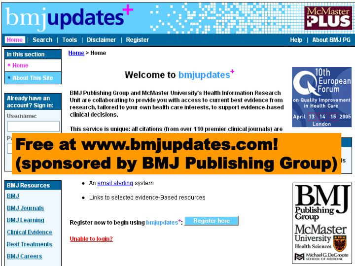 Free EBM literature updating service