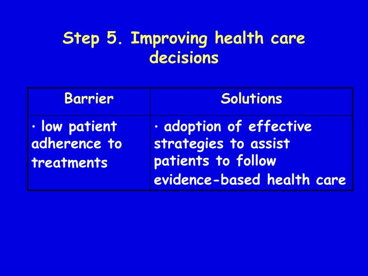 Step 5. Improving health care decisions