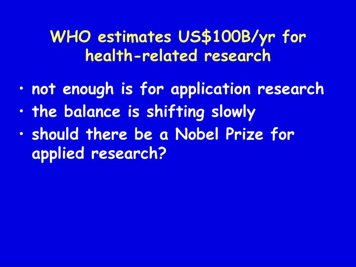WHO estimates US$100B/yr for health-related research