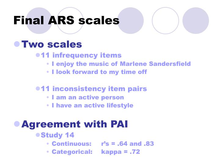 Final ARS scales