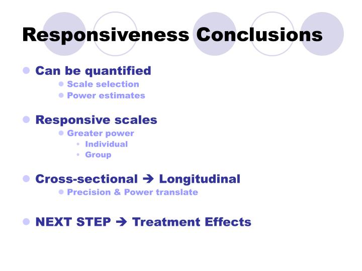 Responsiveness Conclusions