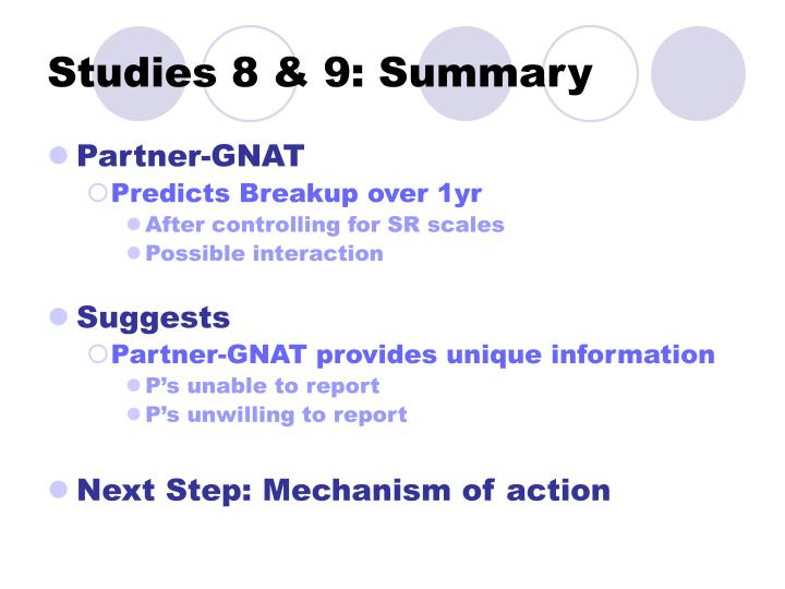 Studies 8 & 9: Summary