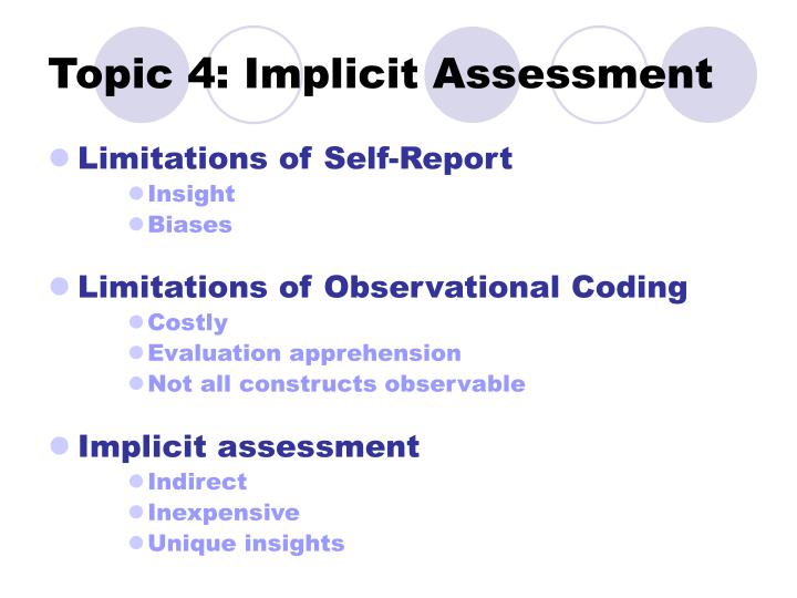 Topic 4: Implicit Assessment