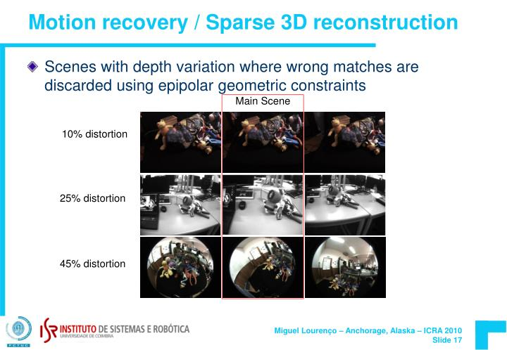 Motion recovery / Sparse 3D reconstruction