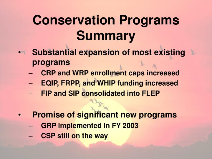 Conservation Programs Summary