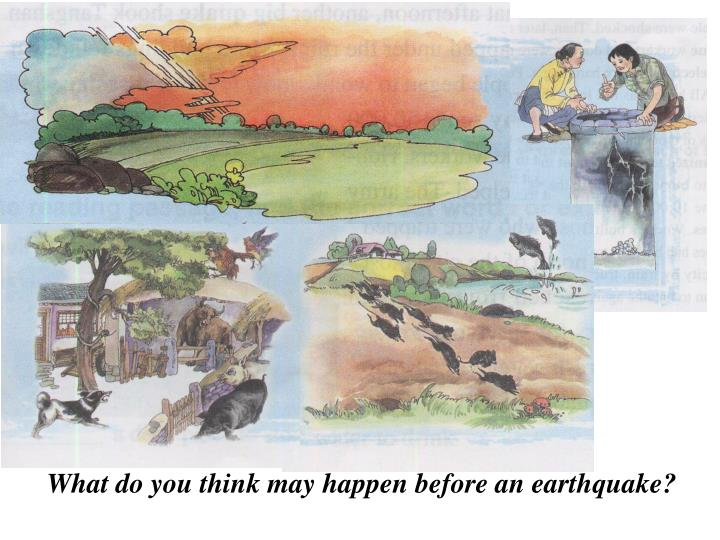 What do you think may happen before an earthquake?