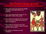 the twelve rules of love from the art of courtly love by andreas capellanus