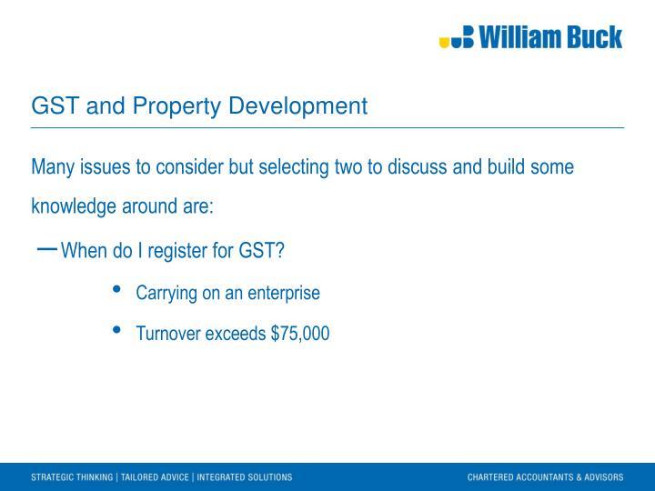GST and Property Development