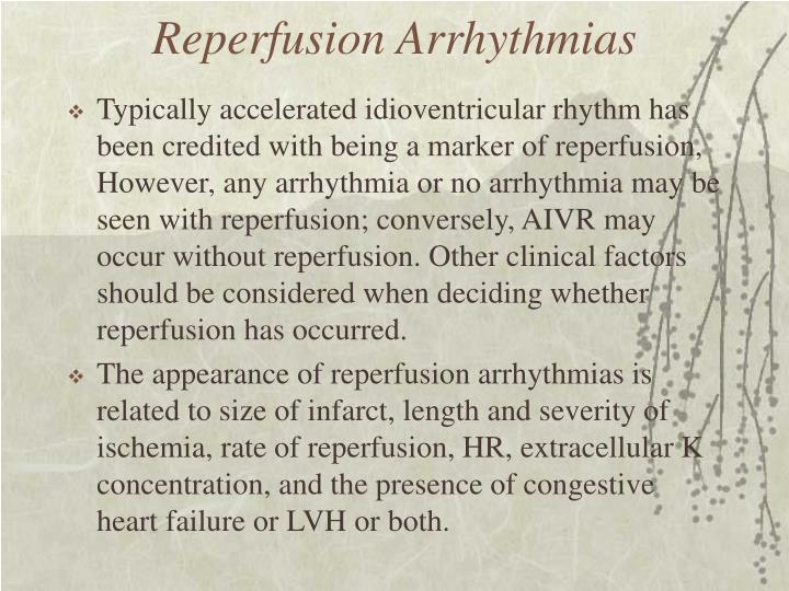 Reperfusion Arrhythmias