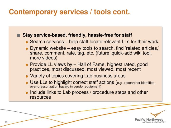 Contemporary services / tools cont.