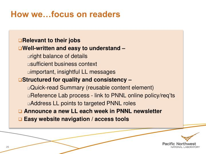 How we…focus on readers
