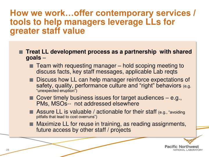 How we work…offer contemporary services / tools to help managers leverage LLs for greater staff value