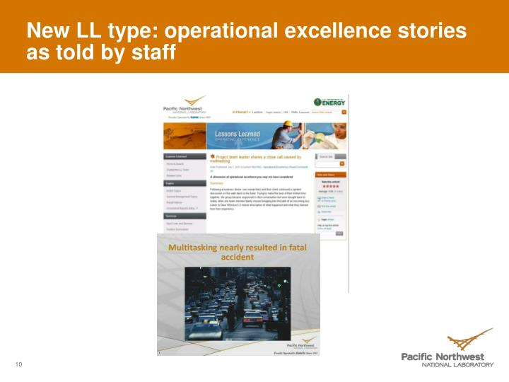 New LL type: operational excellence stories as told by staff