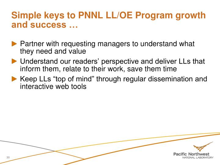 Simple keys to PNNL LL/OE Program growth and success …