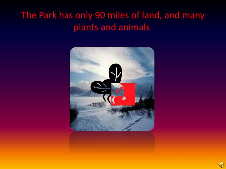 The Park has only 90 miles of land, and many plants and animals