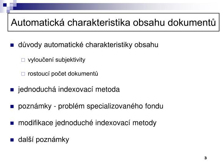 Automatická charakteristika obsahu dokumentů