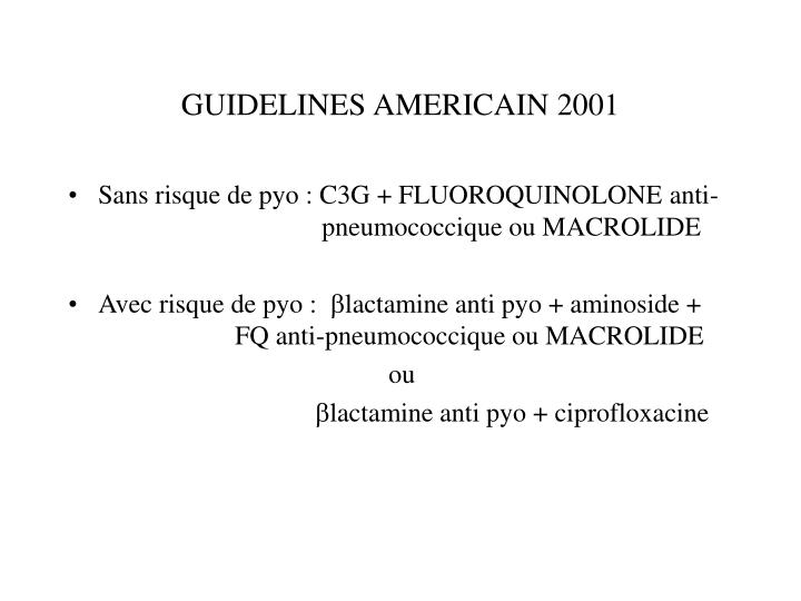 GUIDELINES AMERICAIN 2001
