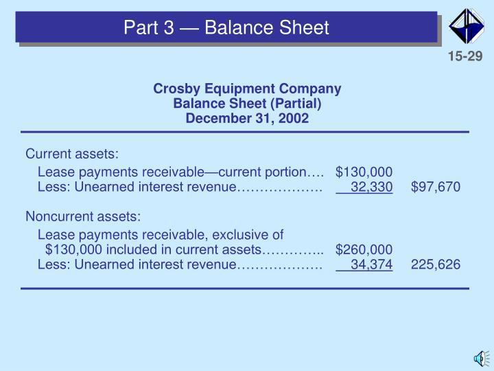 Part 3 — Balance Sheet
