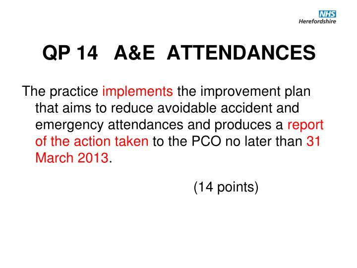 QP 14 A&E  ATTENDANCES