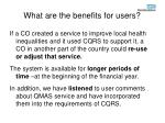 what are the benefits for users1