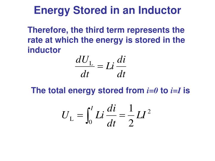 Energy Stored in an Inductor